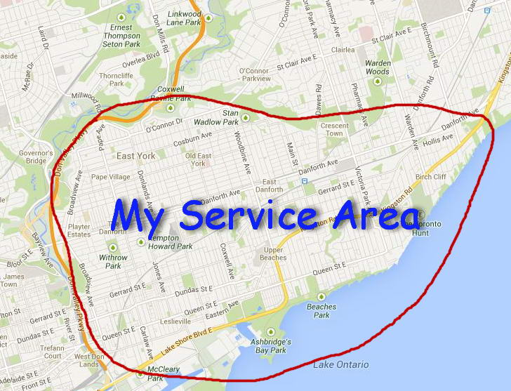 my service area in east Toronto